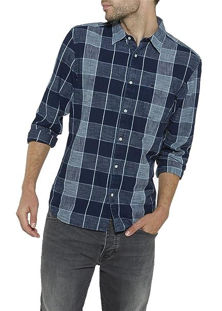 Wrangler - Camisa Casual - Cuello Normal - para Hombre Azul Oscuro Indigo M: Amazon.es: Ropa y accesorios
