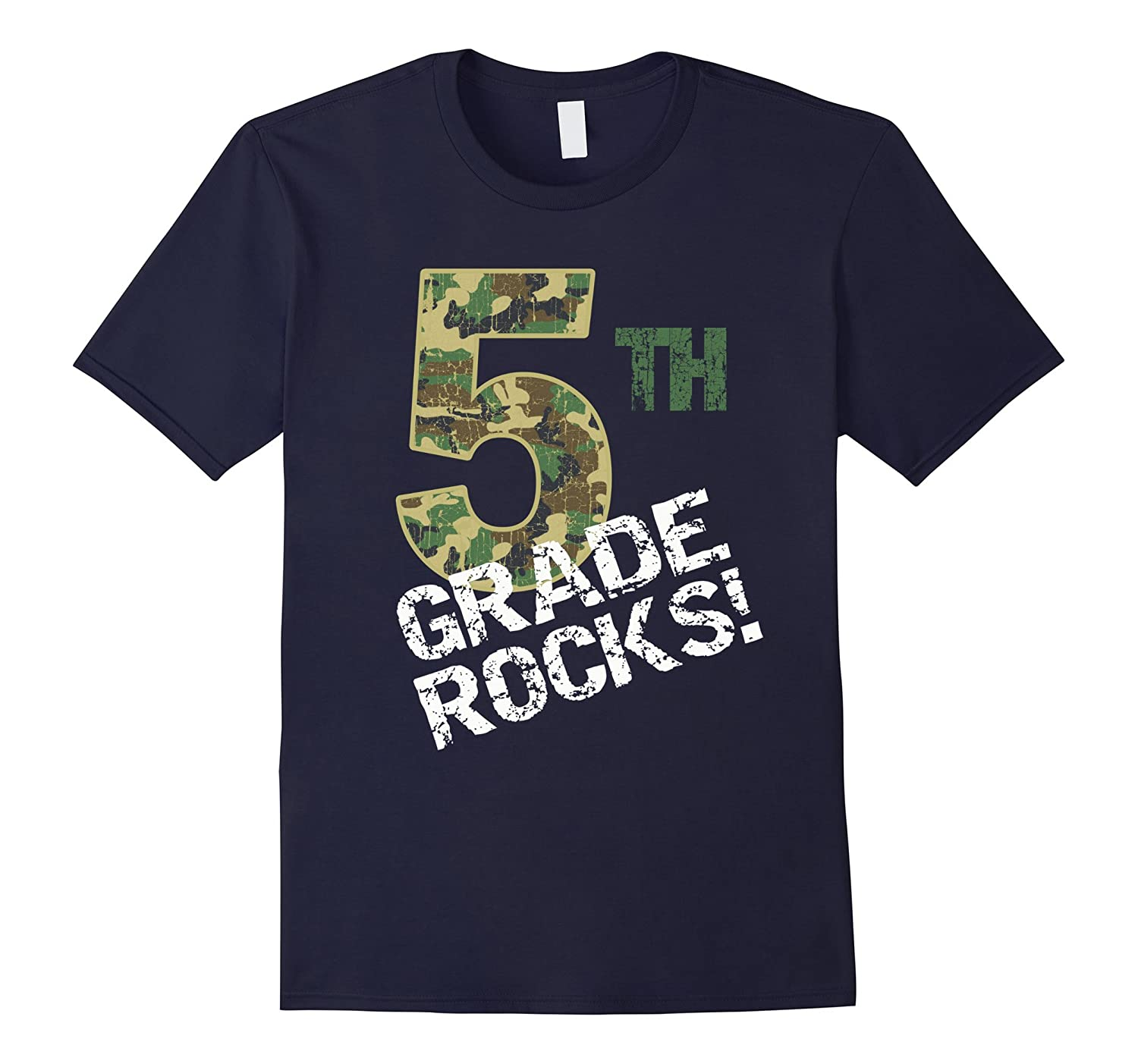 Camo 5th Grade Rocks T-Shirt for Boys or Girls-Art