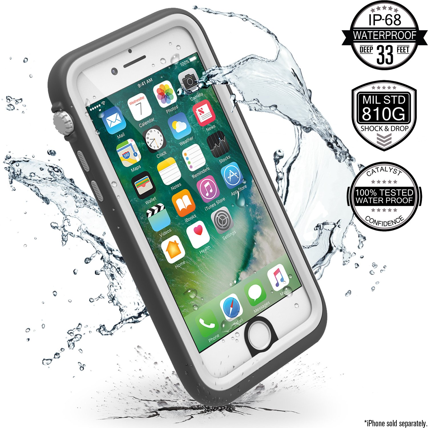 Catalyst Case for Apple iPhone 7 - Premium Quality Waterproof Shockproof (Alpine White) with High Touch Sensitivity ID