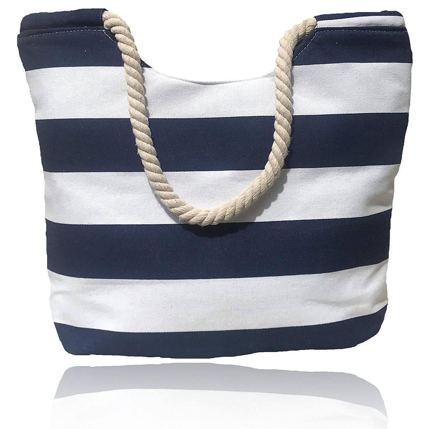 Beach Bag (Tote Bag) Summer Bag with waterproof lining, Inside Pocket, Rope handles Stripe Design for all beach essentials (Blue & White)