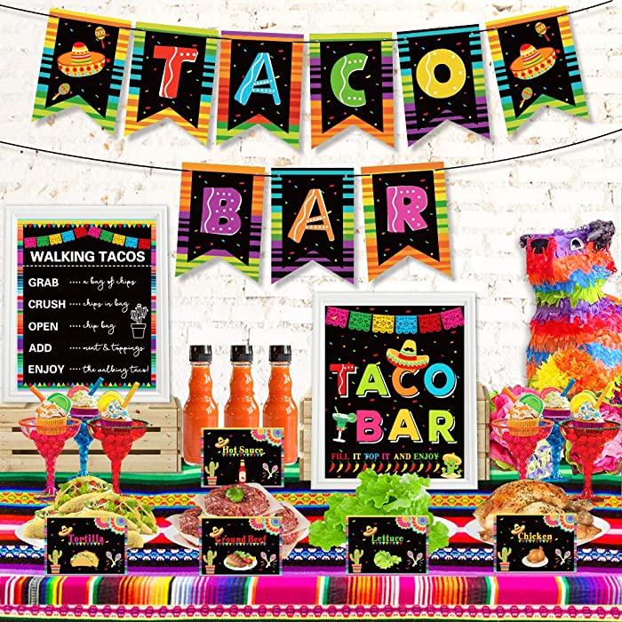 Taco Bar Decoration Kit, Mexican Fiesta Party Decorations Taco Bar Banner Sign Tent Garland for Cinco De Mayo Fiesta Mexican Theme Party Bachelorette Bridal Shower Wedding Birthday Taco Party Supplies