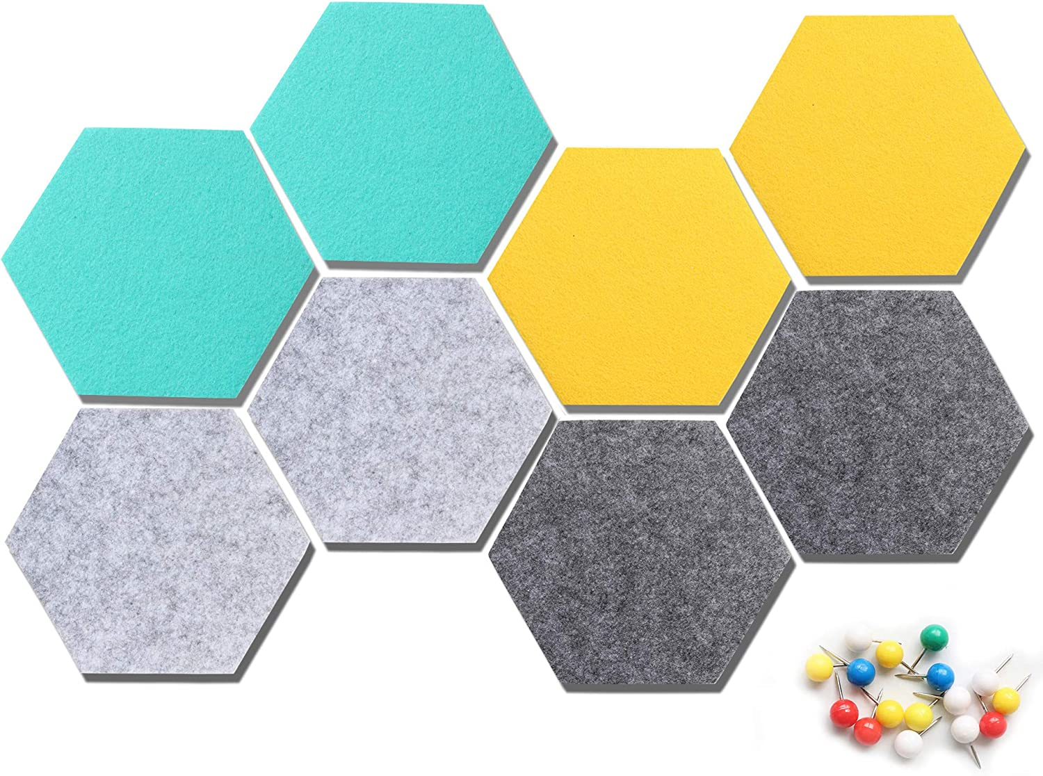 VANCORE Felt Tile Board Hexagon Push Pin Board for Wall Decor Self Adhesive Wall Bulletin Boards for Notes,Pictures,Photos,Memo, Office and Home Decor 5.1x5.8In, 8 Pcs/set