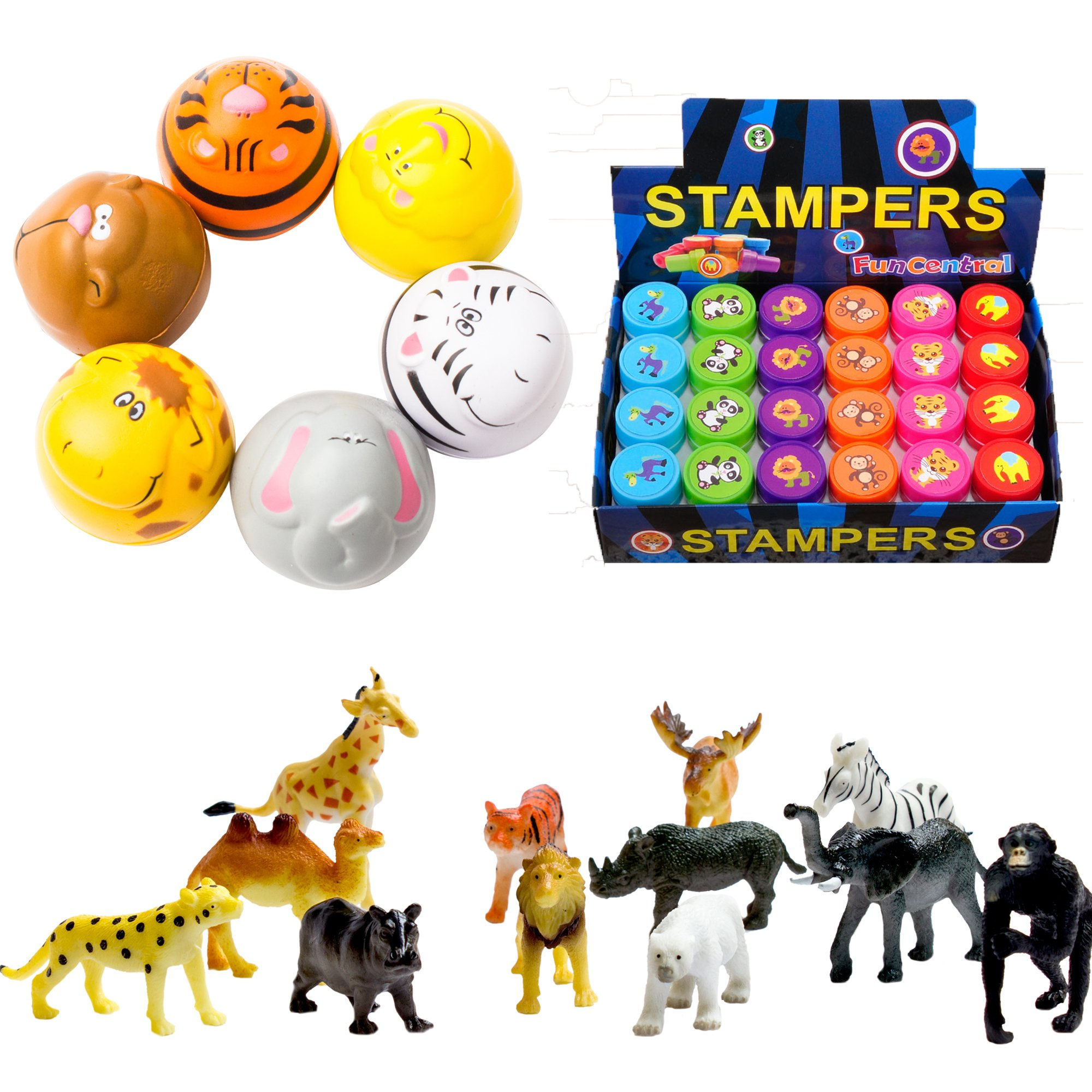 Fun Central BC827 Zoo Animal Party Pack, Zoo Animals Party Supplies, Zoo Animal Party, Zoo Animal Party Favors - 12 Stress balls, 24 Safari Stamp and 12 Safari Animal Figures - Assorted