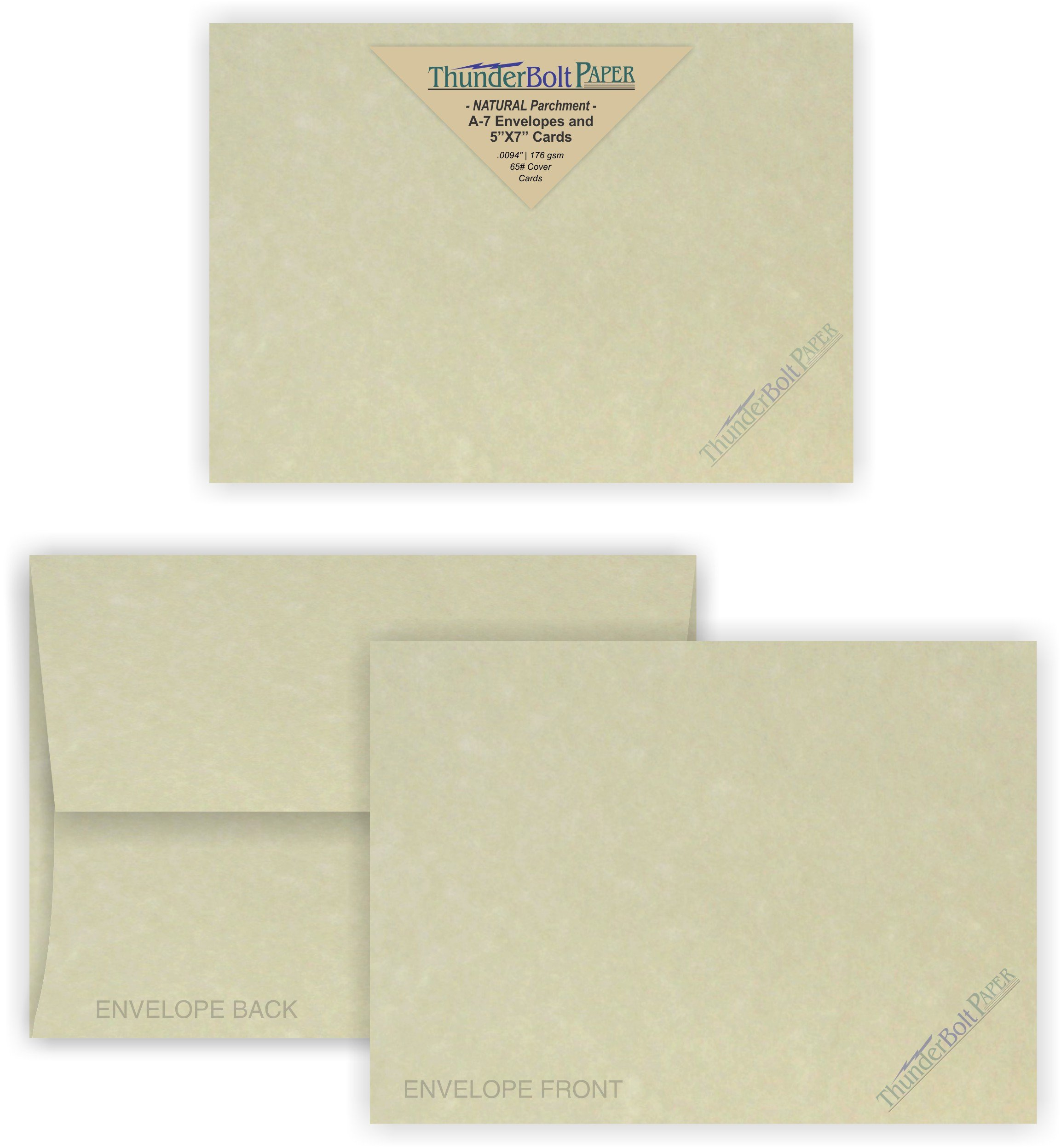 5X7 Blank Cards with A-7 Envelopes - Natural Parchment Look - 50 Sets by Thunderbolt Paper - Lighter & Darker Colors of Pulp - Invitations, Greeting, Thank Yous, Notes, Weddings - 65# Light Cover