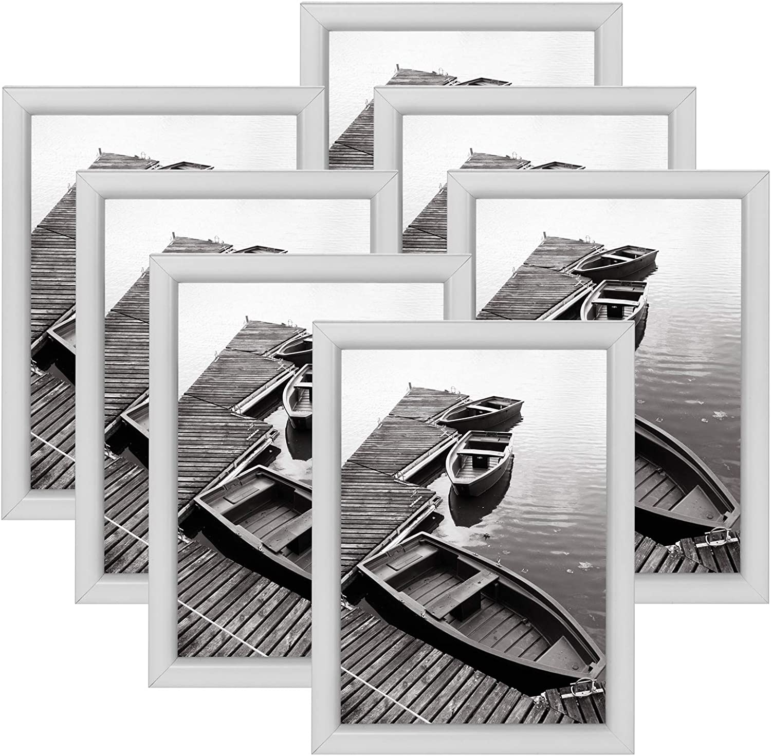 Giverny 5x7 Picture Frames Set of 7, Gray Photo Frames for Wall or Tabletop Display, Simple Design Glossy Finish Frame Perfect for Home Decoration, Office, Hotel and Various Ceremonies Praties