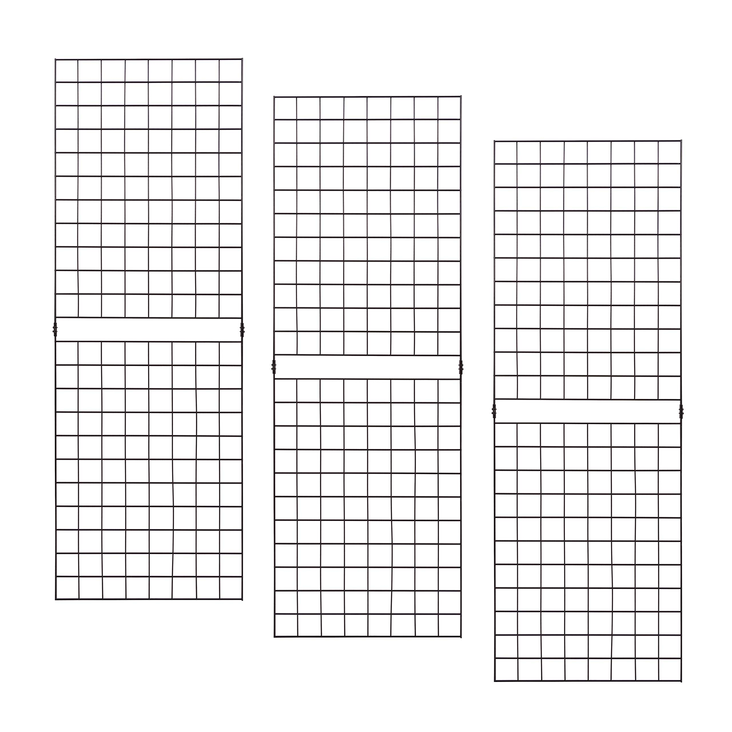 Econoco PGP26B Portable 2' X 6' Black Grid Panels - Pack of 3