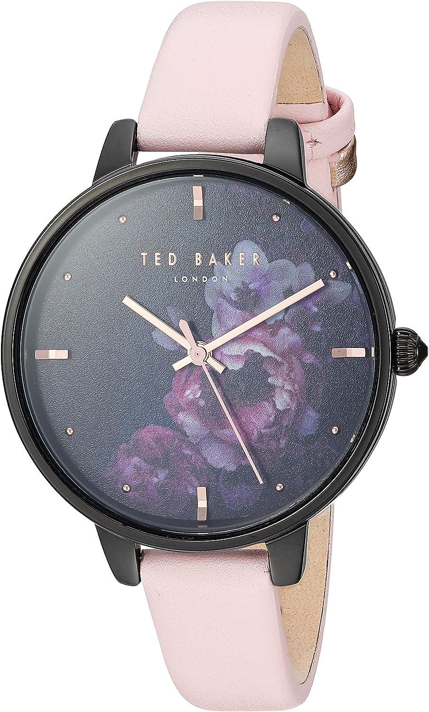 Ted Baker Ladies Watch Black Floral Dial Pink Strap TE50005020