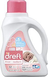Dreft Stage 1: Newborn Liquid Laundry Detergent (HE),Natural for Baby, Newborn, or Infant, 50 oz, 32 loads