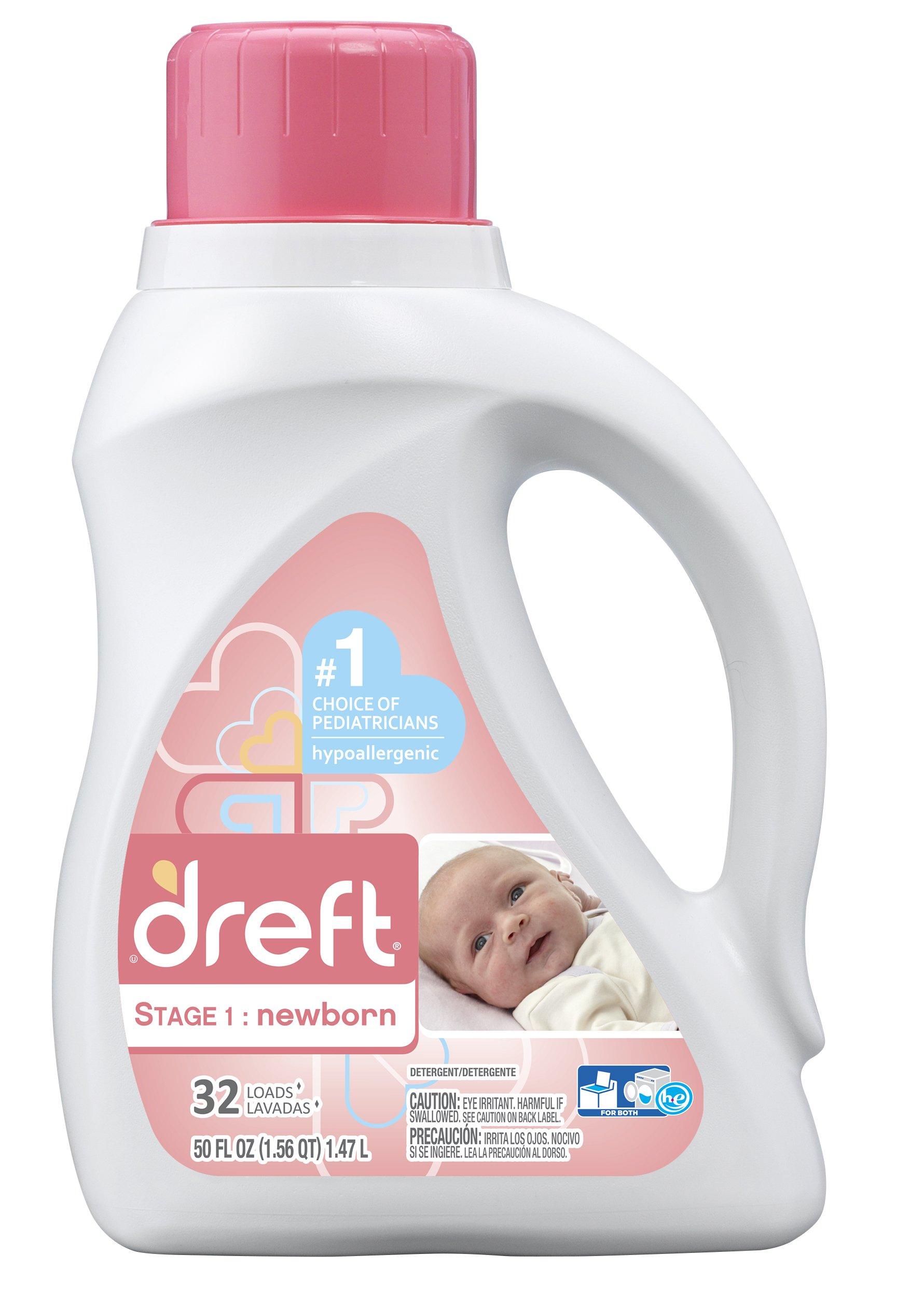 Dreft Stage 1: Newborn Liquid Laundry Detergent (HE),Natural for Baby, Newborn, or Infant, 50 oz, 32 loads by Dreft