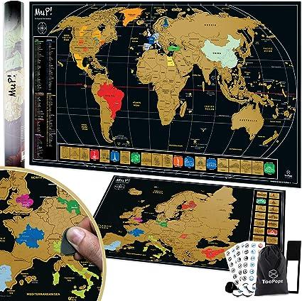 Cartina Mondo Gratta.Toopopz Mappa Del Mondo Da Grattare Xxl Omaggio Cartina Geografica Europa Da Grattare Design Italiano Mappamondo Poster Da Parete Grande Planisfero Scratch Off Map Idee Regalo Per Viaggiatori Amazon It Casa