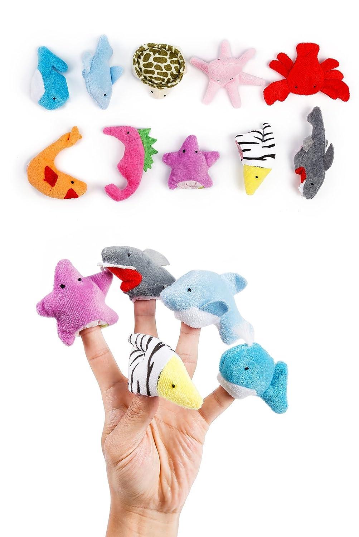 JZH Cartoon Animal Soft Plush Finger Puppets, Alpaca Soft Plush Hand Puppet Baby Educational Props Storytelling Toys. (Rainbow)