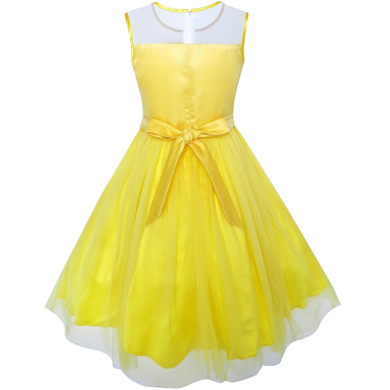 Sunny Fashion Vestido para niña Amarillo Dimensional Flor La dama de honor Boda 5-12 años: Amazon.es: Ropa y accesorios