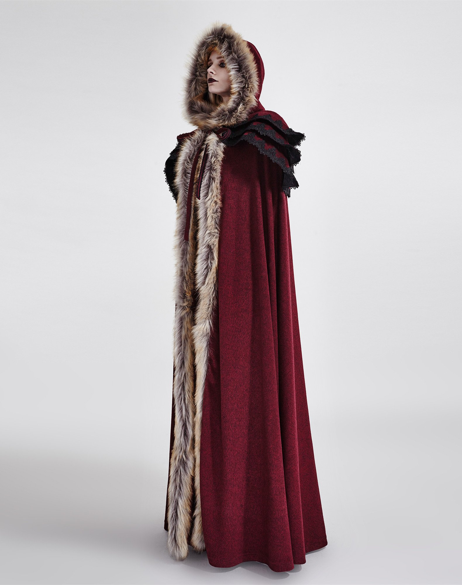 Punk Rave Women's Medieval Fluffy Faux Fur Trimmed Cape Full Length Hooded Cloak Coat(Red) by Punk Rave (Image #3)