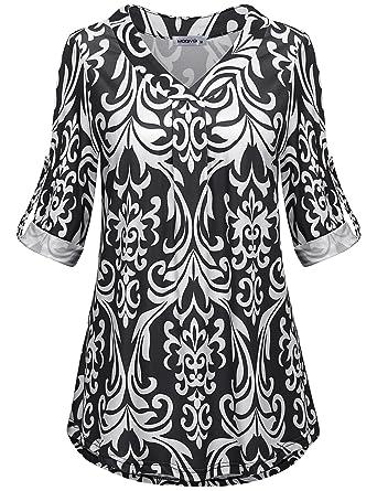 3d7e198a6b7 MOQIVGI Womens Floral Printed Blouse Shirts 3 4 Roll Sleeve V Neck ...