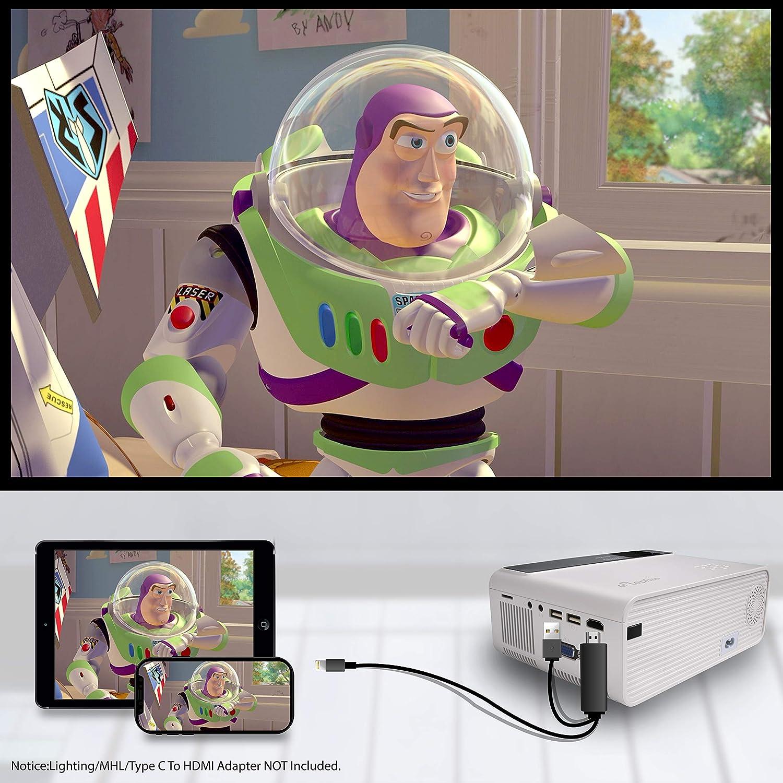 4500 Lumen Beamer f/ür Heimkino ELEPHAS Mini Beamer Unterst/ützt 1080P Full HD mit 50000 Stunden Tragbarer LED Projektor wei/ß kompatibel mit TV Stick //PS4//X-Box//HDMI//SD//AV//VGA//USB,iOS//Android Mehrweg