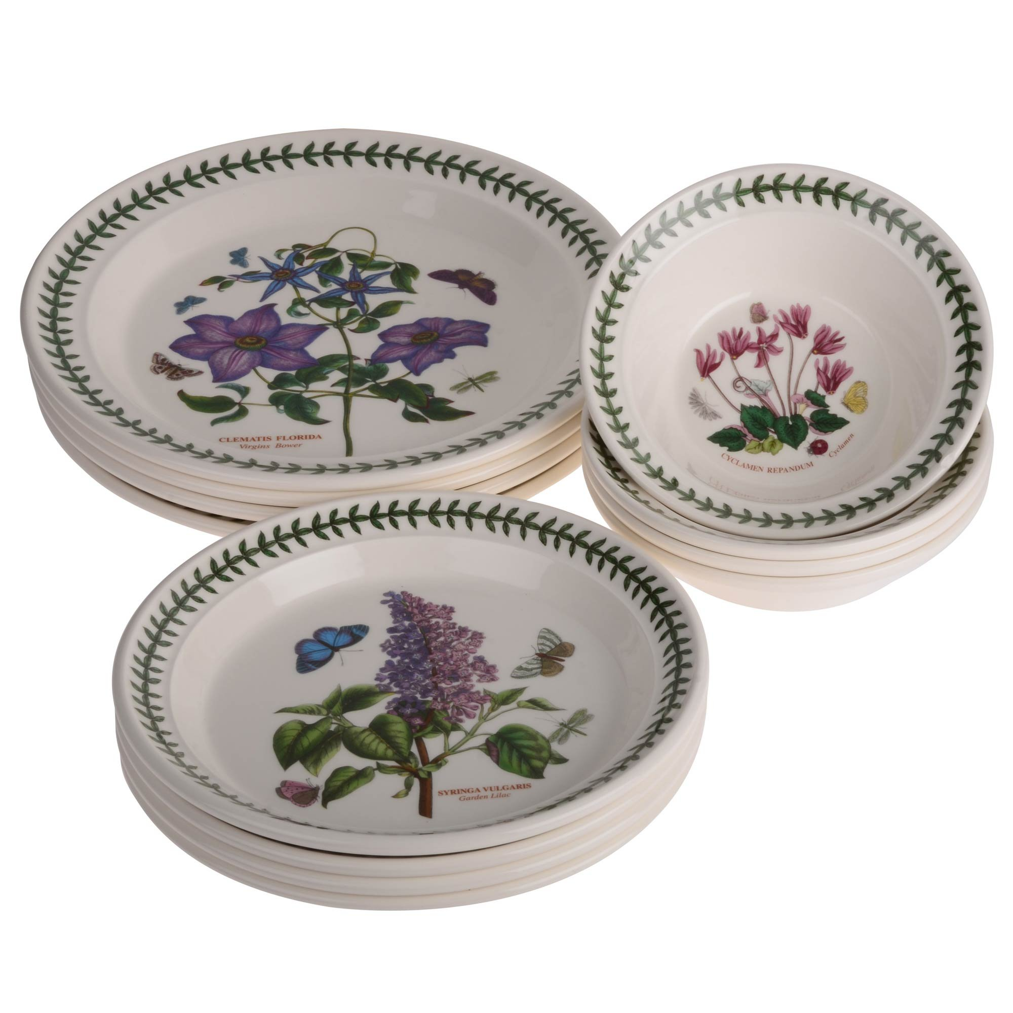 Portmeirion 12 Piece 'Botanic Garden' Set - 4 x Dinner Plates, 4 x Side Plates & 4 x Bowls