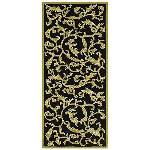 Safavieh Chelsea Collection HK307B Hand-Hooked Black Premium Wool Runner 2 6 x 6