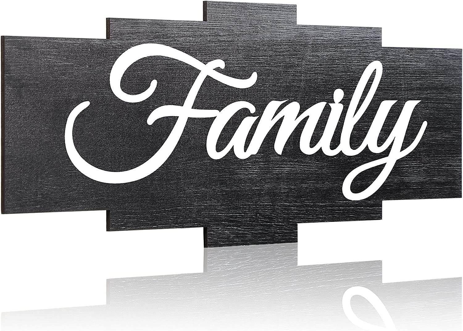 Jetec Family Sign Wall Decor Rustic Wood Sign Family Quotes Wall Sign Home Decor Wooden Hanging Sign for Bedrooms Living Room Home Wall Decoration (Grey)