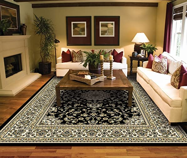 Large Rugs for Living Room Black Traditional Oriental Medallion Area Rugs 8×10 Prime Rugs