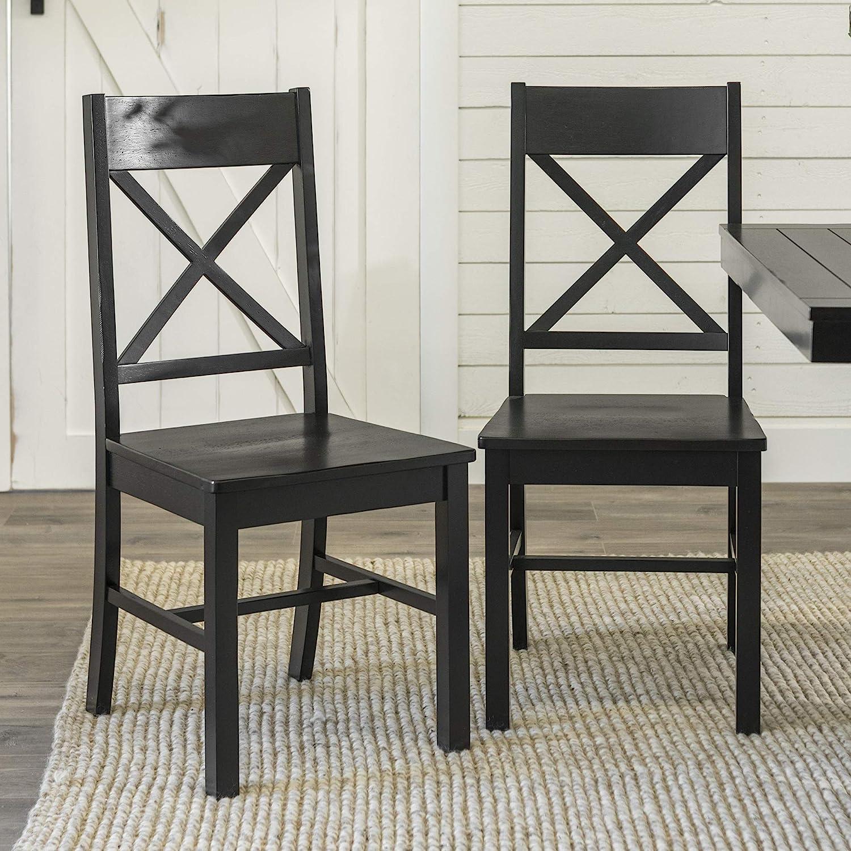 Walker Edison Furniture Company Modern Farmhouse Wood X-Back Kitchen Dining  Chairs, Black