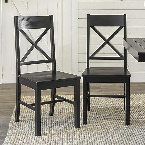 Amazon Com Walker Edison Furniture Modern Farmhouse Wood X Back Kitchen Dining Chairs Black Furniture Decor