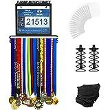 Medal Hanger - Complete Bundle Medal Hanger Bib Holder For 60+ Medals 120 Runner Race Bibs + Includes 23 Bibs Vinyl Sleeves + Locking Laces + Multipurpose Scarf