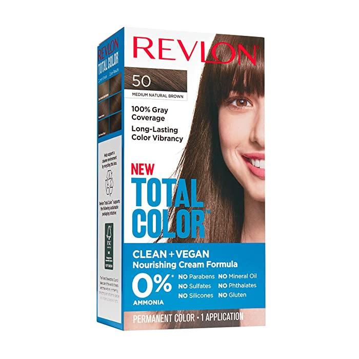 Revlon Total Color Permanent Hair Color, Clean and Vegan, 100% Gray Coverage Hair Dye, 50 Medium Natural Brown, 3.5 oz