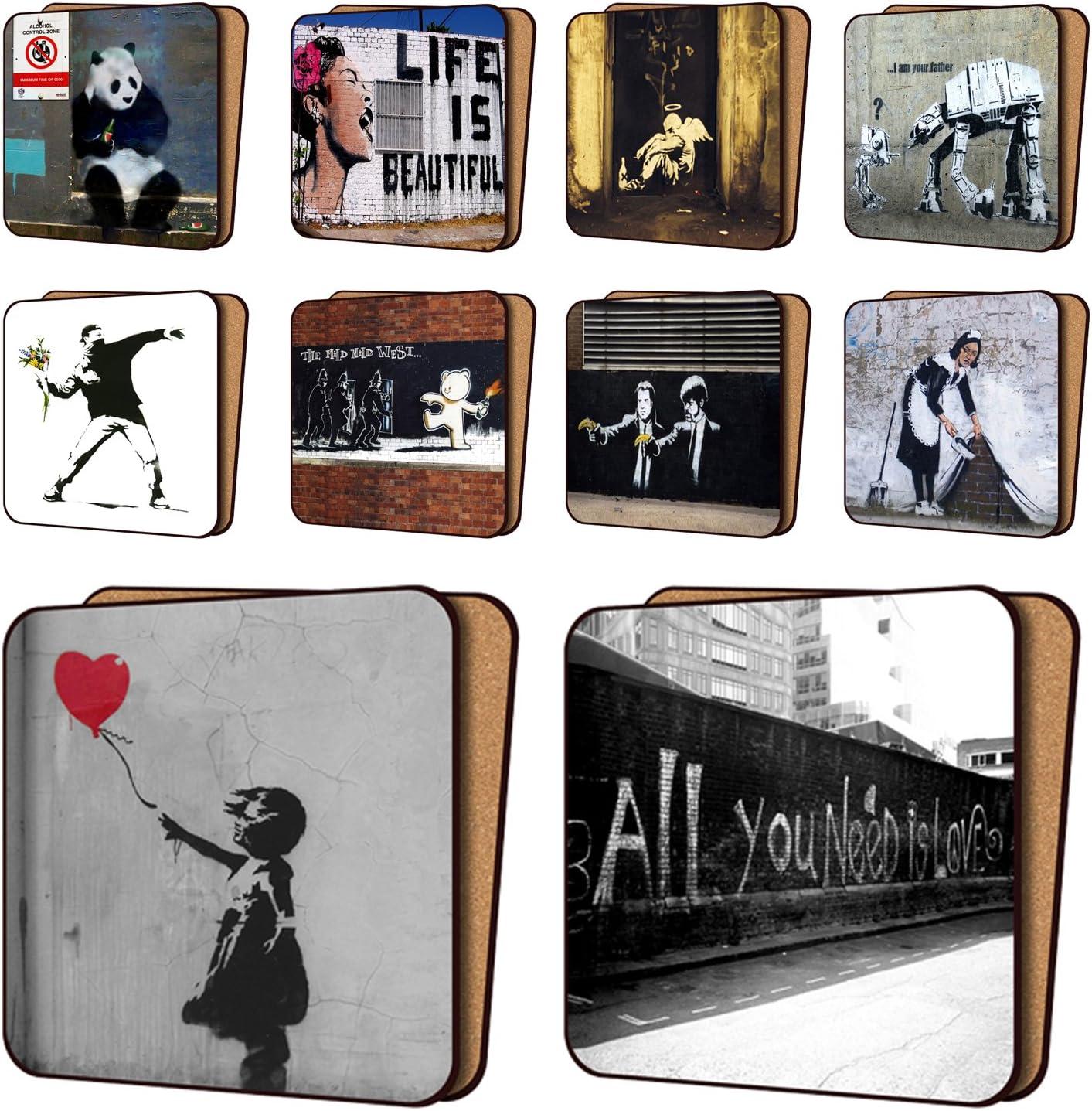 Juego de 10 posavasos de Banksy con impresión a color de 11 x 11 cm, de Art Okay