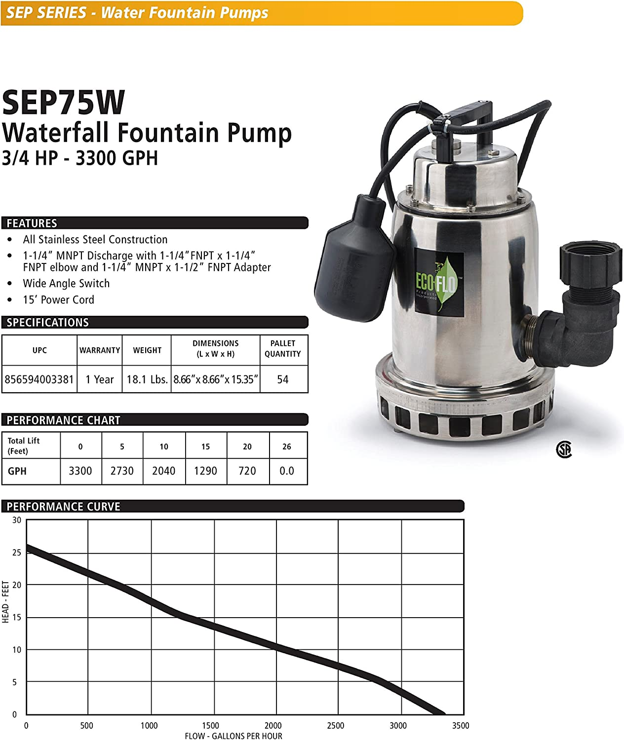 2,400 GPH 1//2 HP ECO-FLO Products SEP50W Stainless Steel Waterfall Fountain Pump