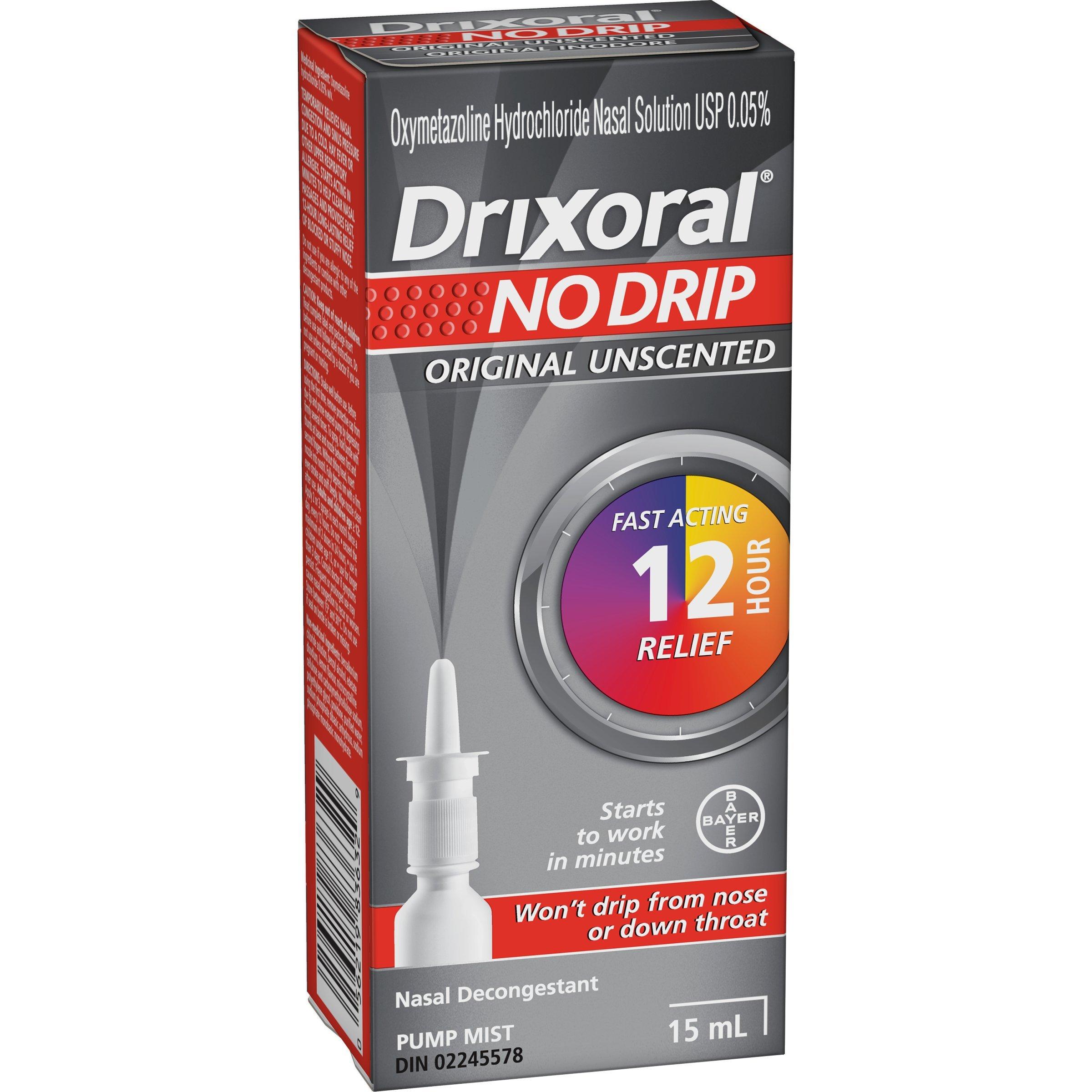 DRIXORAL No Drip 'Original Unscented' NASAL DECONGESTANT Pump Mist 15 ml