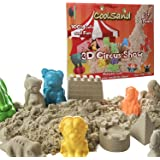 Coolsand 3D Circus Kinetic Play Sand Mold Kit | Includes 2 lbs. of Natural Indoor Play Sand, (8) 3D animal molds, 4 stand molds, and 1 3D sand box | 100% Non-Toxic Sand Molding Set for Children