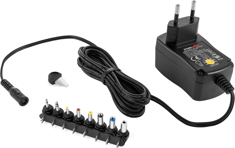 Poppstar Alimentador Universal (3 V, 4,5 V, 5 V, 6 V, 7,5 V, 9 V, 12 V - 1 A (1000mA), con 8 Conectores y LED, Cable eléctrico 150 cm