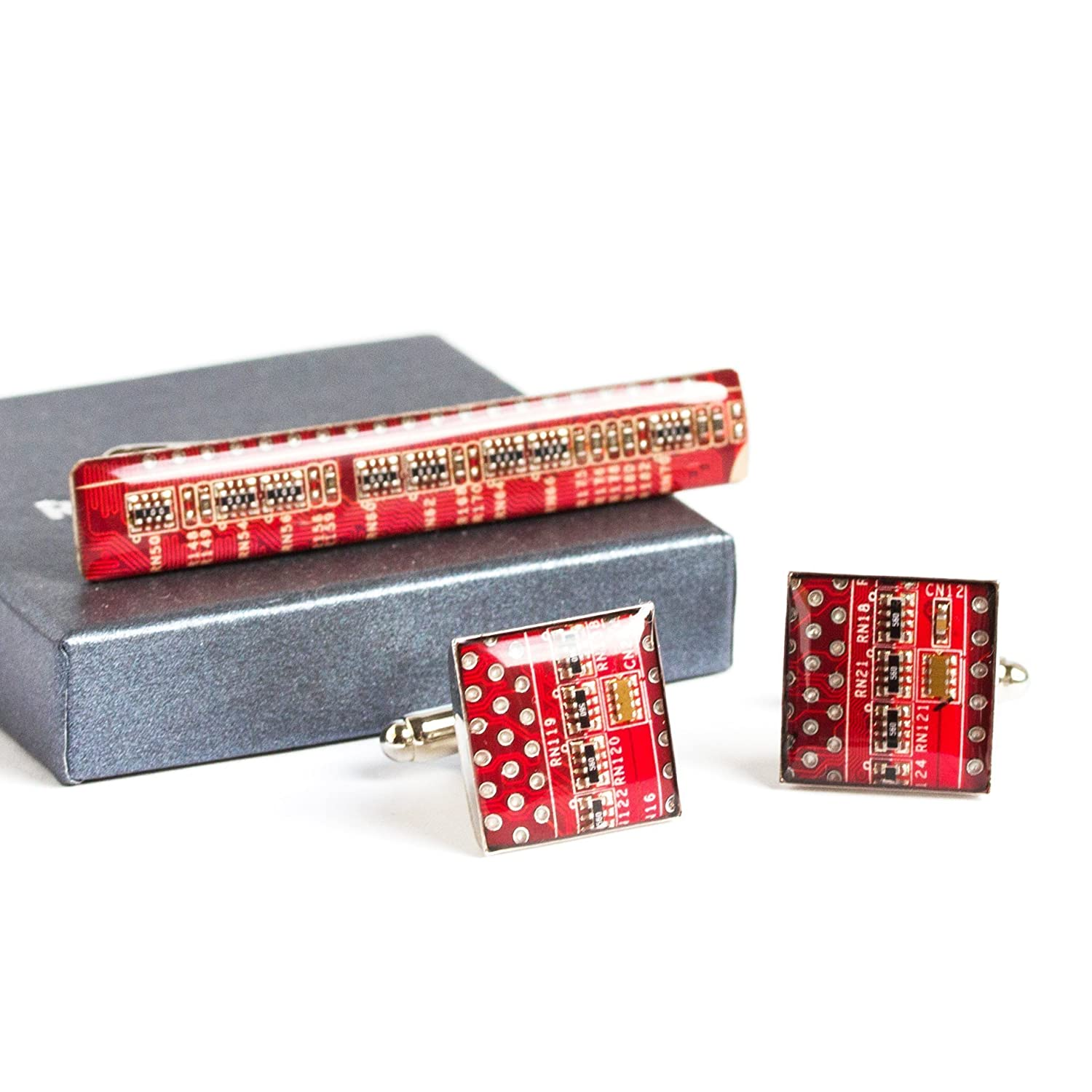 Red Unique Cufflinks And Tie Clip Set Recycled Circuit Board Jewelry For Men