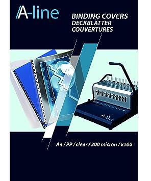 A Line - 8005550 tapas de encuadernación carátulas protectores transparentes, DIN A4, 0.20 mm de grosor, polipropileno, 100 unidades), ...