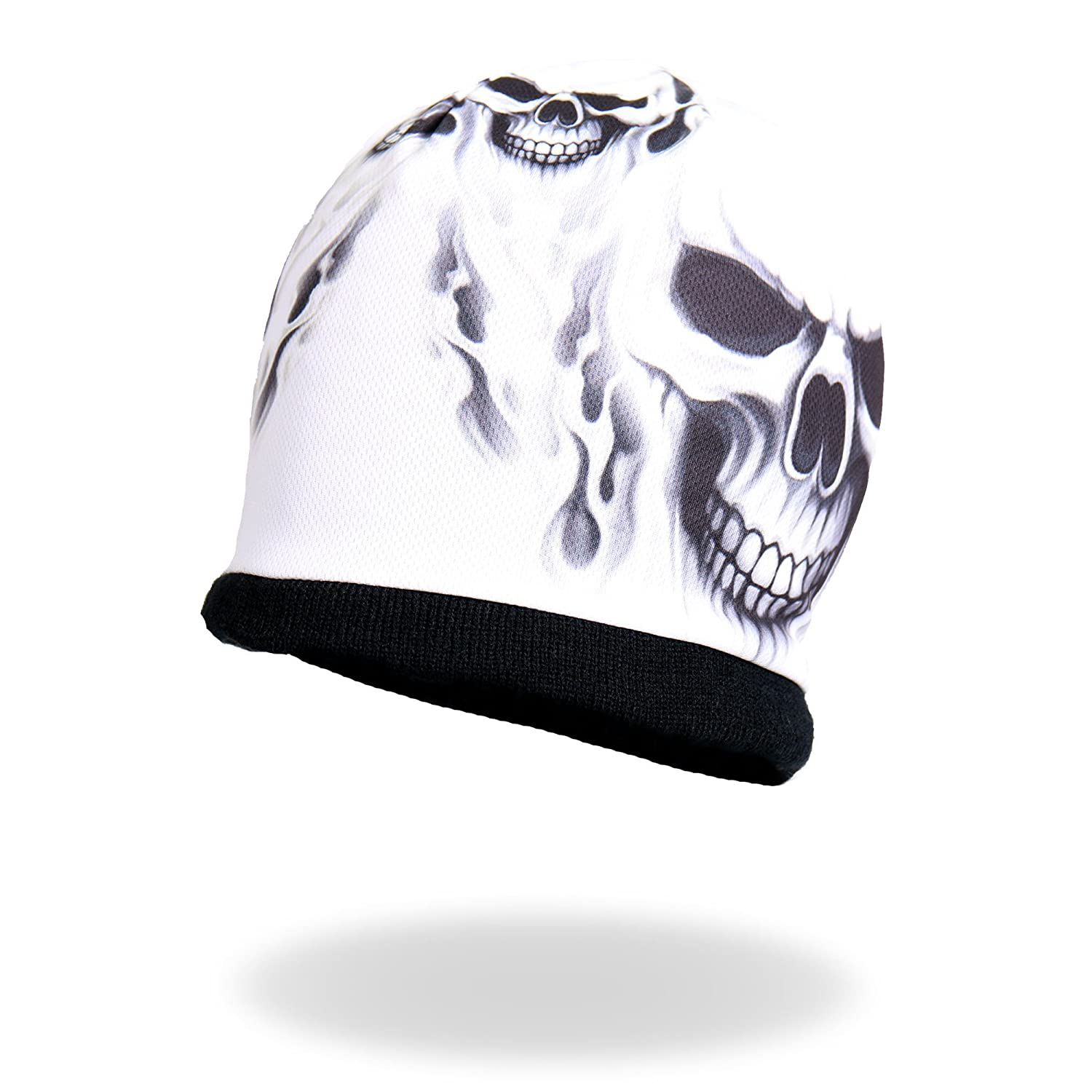 Hot Leathers Ghost Skull Sublimated Beanie (Black, One Size)