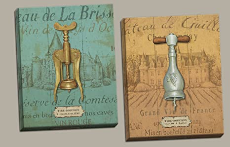 Amazon Com Gango Home Decor Vintage Style Wine Cork Screw Bottle Openers Set By Daphne Brissonnet Two 11x14in Canvases Posters Prints