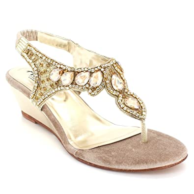 4594f8105f6e AARZ LONDON Women Ladies Crystal Diamante Evening Wedding Party Bridal Prom  Comfort Wedge Heel Slingback Gold