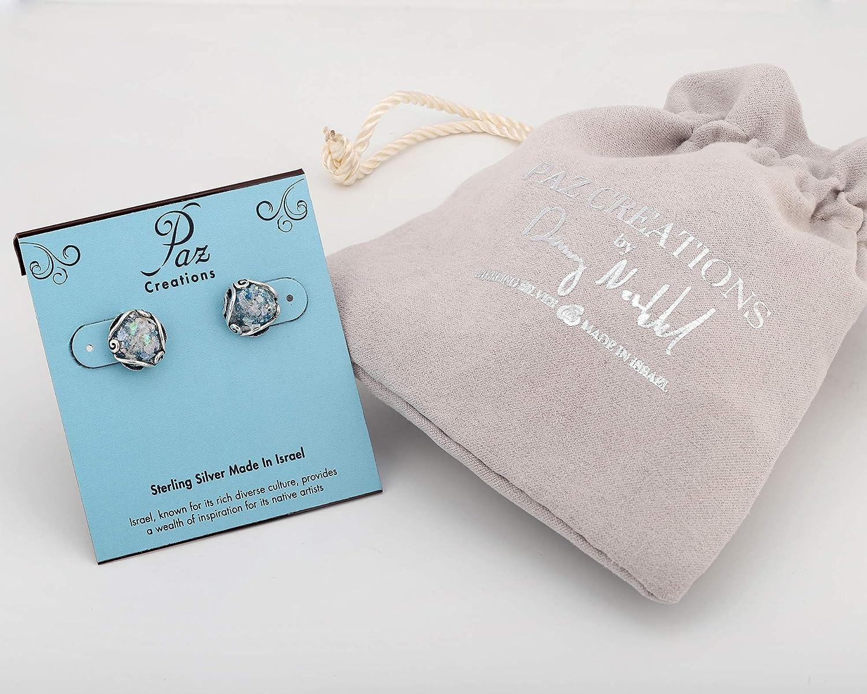 PZ Paz Creations .925 Sterling Silver Roman Glass Stud Earrings
