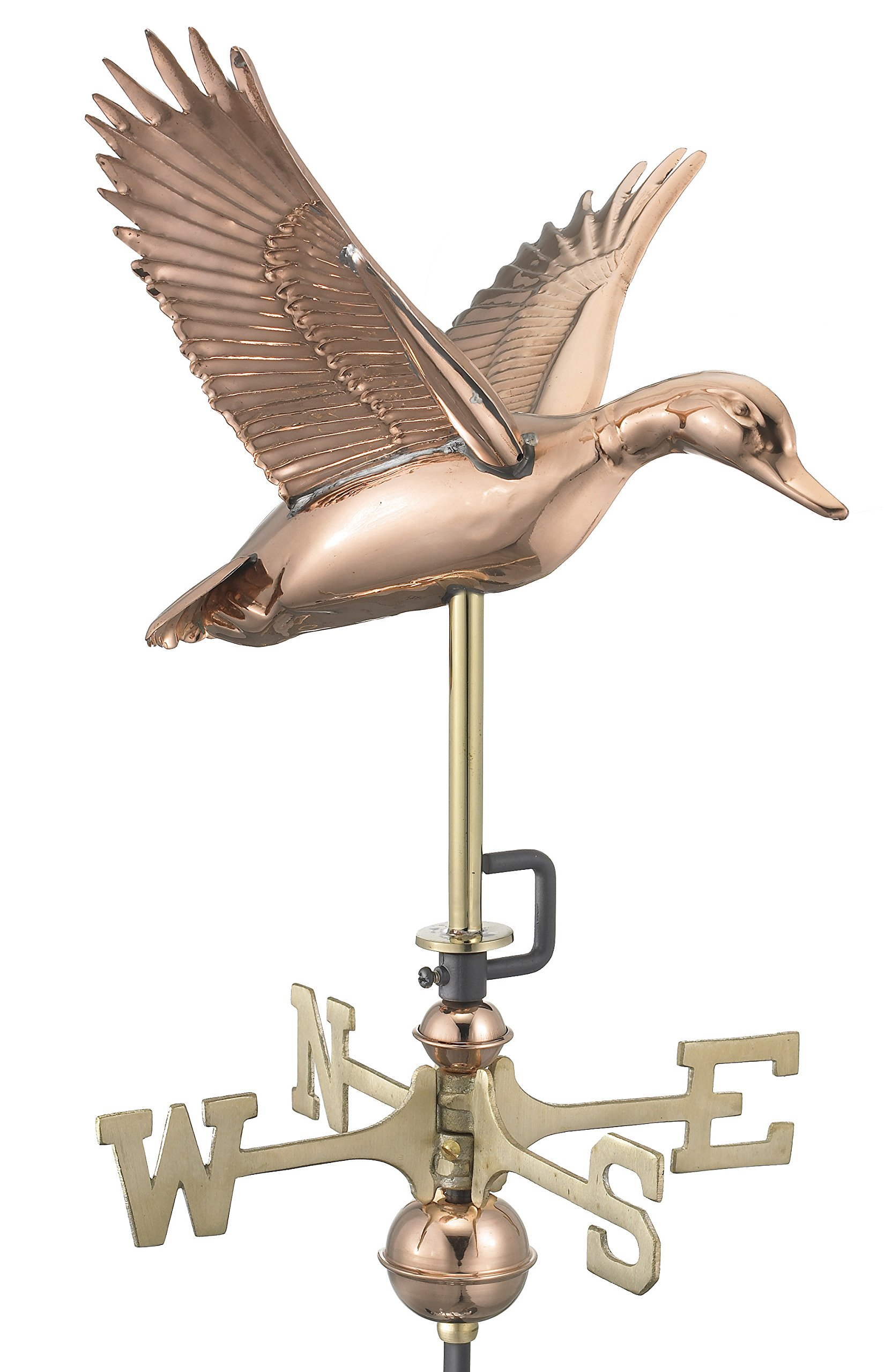 Good Directions 8844PG Flying Duck Garden Weathervane, Polished Copper with Garden Pole