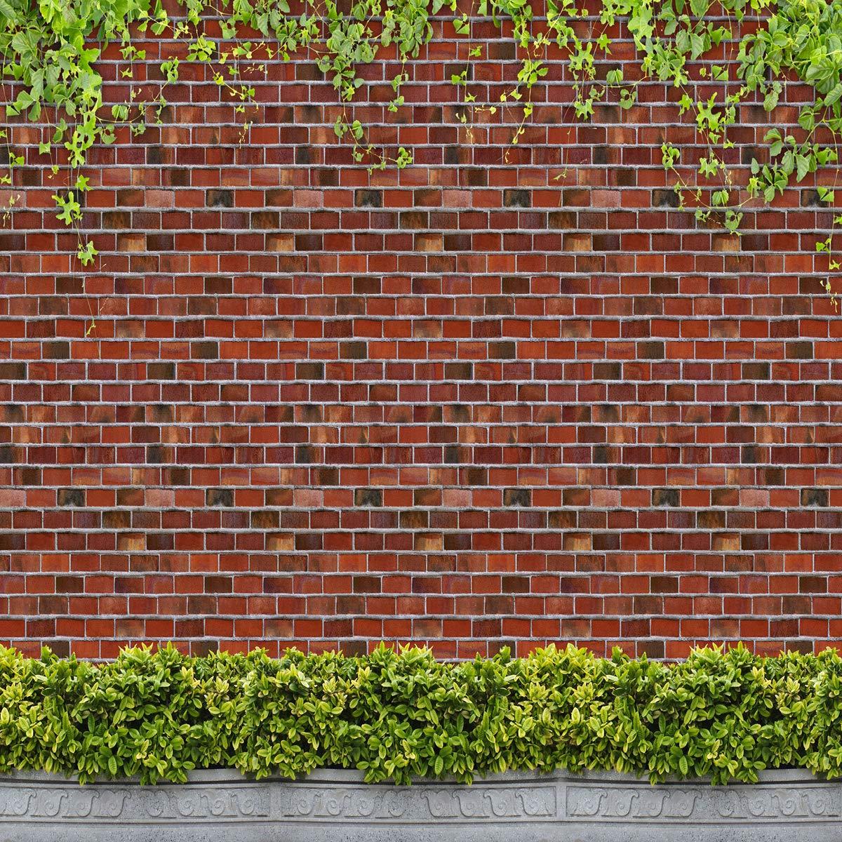 10 x 10フィート ケイトマイクロファイバー 赤レンガ 壁 写真撮影用小道具 背景 芝生 葉 写真 スタジオ 背景 アイビー シームレス ベビーショー 写真用背景幕   B07L7ZHZ2V