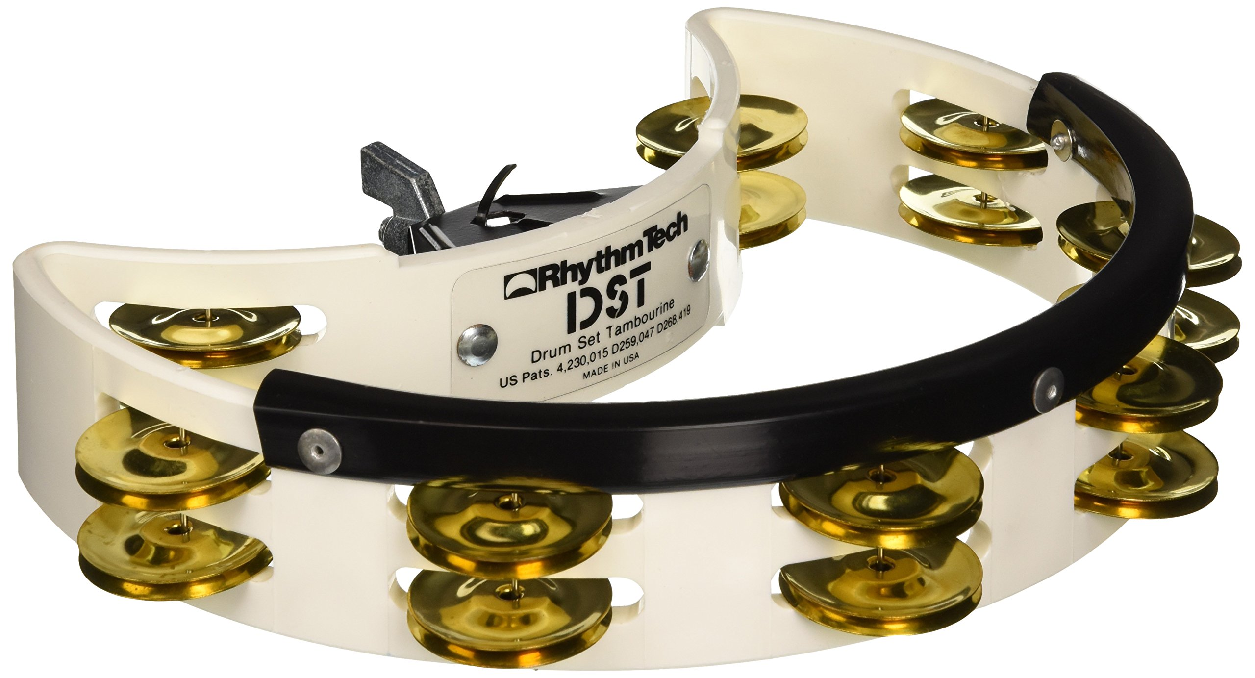Rhythm Tech DST 21 Drum Set Tambourine-White-Brass Jingles