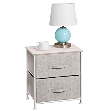 mDesign End Table/Night Stand Storage Tower - Sturdy Steel Frame, Wood Top, Easy Pull Fabric Bins - Organizer Unit for Bedroom, Hallway, Entryway, Closets - Textured Print, 2 Drawers - Linen/Natural