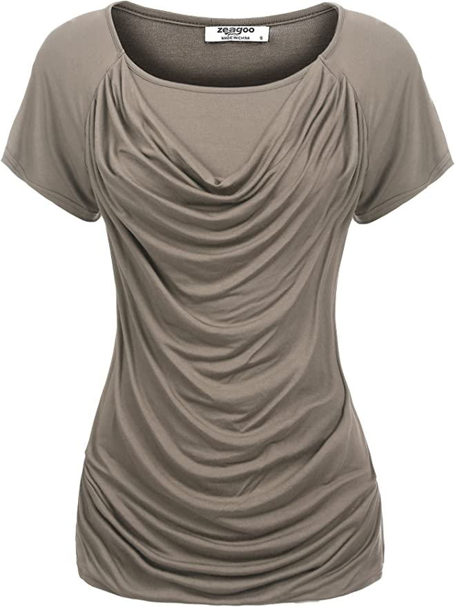 Zeagoo Womens Solid Short Sleeve Round Neck Stretchy Drape Front Tunic Blouse Grey