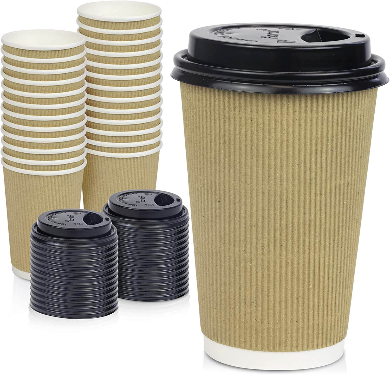 [50 Pack] Disposable Hot Cups with Lids - 16 oz Brown Double Wall Insulated Ripple Sleeves Coffee Cups with Black Dome Lid - Kraft Paper Cup for To Go Chocolate, Tea, and Cocoa Drinks