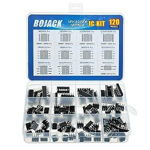 BOJACK 12 Values 120 Pcs Opamp Timer Darlington Phototcoupler LM324 LM339 ULN2003AN ULN2803APG LM358P LM386 LM393 NE5532P NE555P UA741CN JRC4558D PC817 IC Assortment Kit