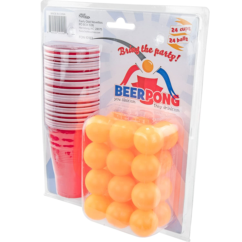 Fairly Odd Novelties 24 Cups & Ping Pong Balls Beer Pong Set, Red FON-10183