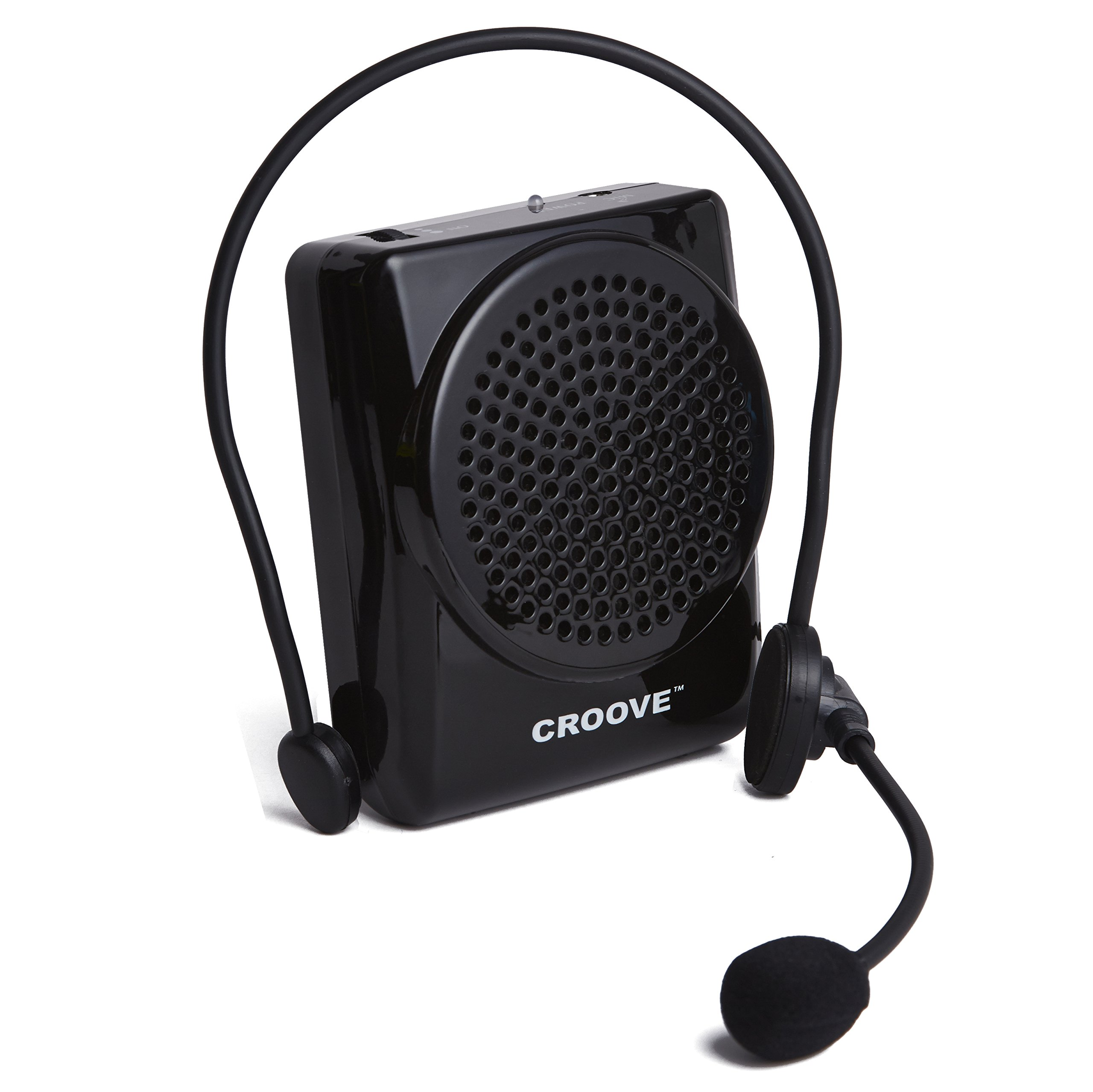 Croove Rechargeable Voice Amplifier, with Waist/Neck Band & Belt Clip, 20 Watts Headset by Croove