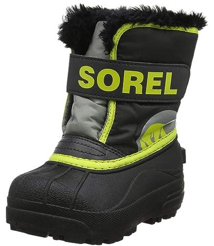 Sorel Bébé Bottes Unisexes, TODDLER SNOW COMMANDER, Gris Foncé Jaune  (Warning Yellow ca77f0c5a9e1
