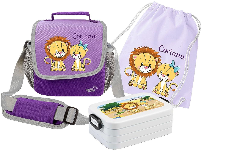 Mein Zwergenland Set 4 Kindergartentasche, Brotdose und Turnbeutel Happy Knirps mit Namen, 3-teilig, Rosa B01AI5QI0W   Ausgang