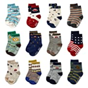12 Pairs Baby Boys Toddler Non Skid Cotton Socks with Grip 1-3 Years by Flanhiri (6-12 Months, 12 pairs)